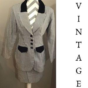 Vintage 90s Mini Check Plaid Skirt Suit